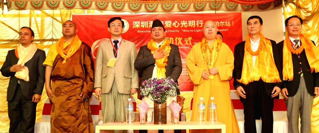 KATHMANDU, May 20, 2016 - Nepal's Vice President Nanda Bahadur Pun (C) attends the opening ceremony of a free eye health camp for cataract surgery at Jana Maitri Hospital in Kathmandu, capital of ...
