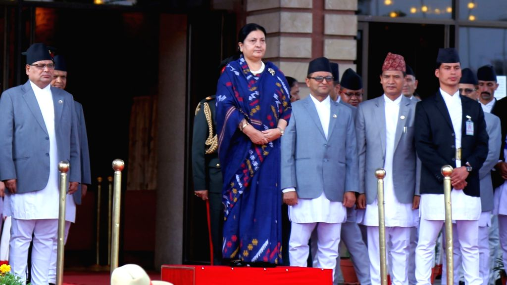 KATHMANDU, May 22, 2018 - Nepal's President Bidya Devi Bhandari reviews the honor guard before presenting the government's Policies and Programs for the budget of the next fiscal year at the joint ...