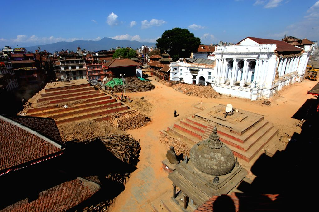 Photo taken on May 3, 2015 shows the ruined Hanuman Dhoka Durbar Square after a massive earthquake in Kathmandu, Nepal. Death toll from the powerful earthquake in ...