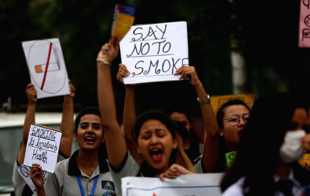 "KATHMANDU, May 31, 2019 - Nepalese young people participate in a rally to mark ""World No Tobacco Day"" at street of Kathmandu, Nepal, on May 31, 2019."