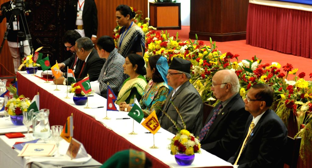 Kathmandu (Nepal): Foreign ministers of SAARC countries attend the signing ceremony on various issues on the closing session of the 18th South Asian Association for Regional Cooperation (SAARC) ...