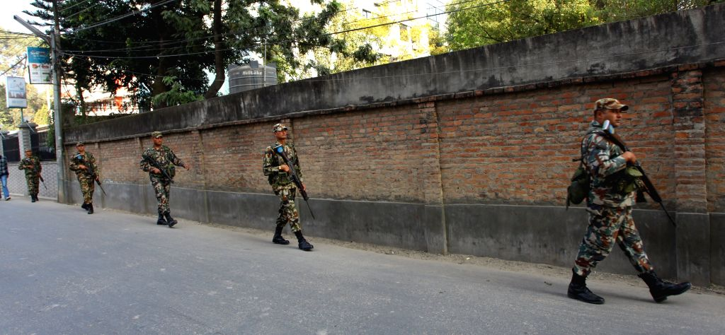 Kathmandu (Nepal): Nepal Army personnel patrol on a local street prior to South Asian Association for Regional Cooperation (SAARC) Summit in Kathmandu, Nepal, Nov. 20, 2014. The security has been ...