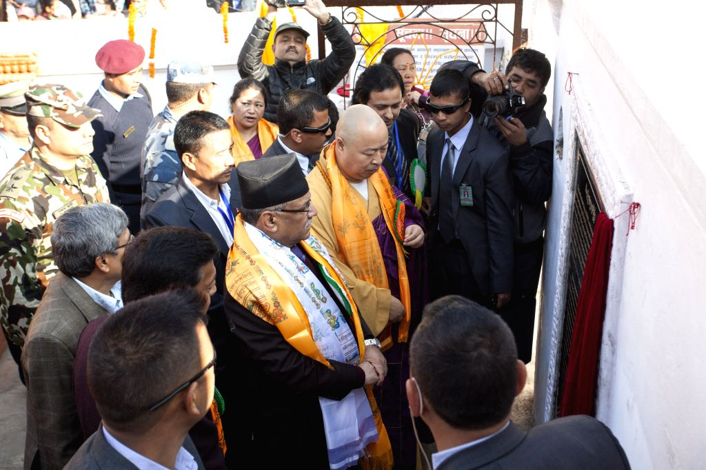 KATHMANDU, Nov. 22, 2016 - Nepali Prime Minister Pushpa Kamal Dahal (3rd L, front) officially inaugurates Boudhanath Stupa in Kathmandu, Nepal, Nov. 22, 2016. After a three-day purification ceremony ... - Pushpa Kamal Dahal