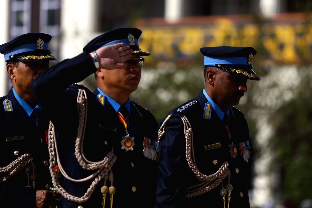 KATHMANDU, Oct. 11, 2019 - Policemen take part in a parade during the National Police Day celebrations at the police headquarters in Kathmandu, Nepal, Oct. 11, 2019.