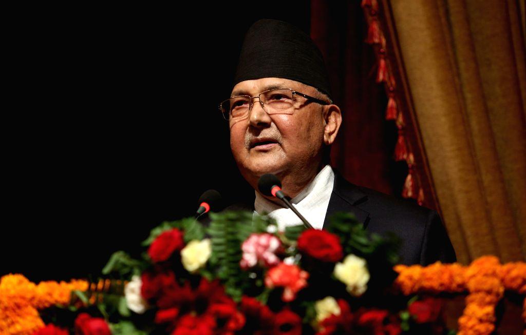 KATHMANDU, Oct. 16, 2019 - Nepali Prime Minister  K.P. Sharma Oli addresses the 2nd China-South Asia Literature Forum in Kathmandu, Nepal, Oct. 15, 2019. With an aim of promoting art, literature and ... - K. and P. Sharma Oli