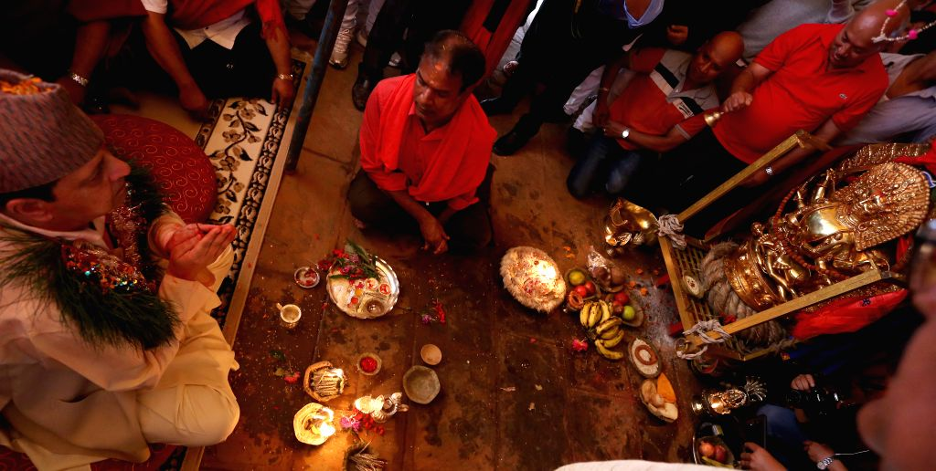 "KATHMANDU, Oct. 2, 2016 - Nepal's former King Gyanendra Shah (L) offers prayers to ""Pachali Bhairav"" after revealing the new gold plated vessel on the second day of Dashain festival in ... - Gyanendra Shah"
