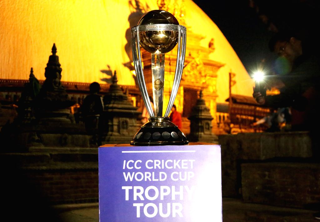 KATHMANDU, Oct. 26, 2018 (Xinhua) -- Photo taken on Oct. 26, 2018 shows the ICC(International Cricket Council) World Cup trophy displayed as it has arrived for the ICC Cricket World Cup Trophy Tour at Swaymbhu in Kathmandu, Nepal, Oct. 26, 2018. (Xin - Sunil Sharma