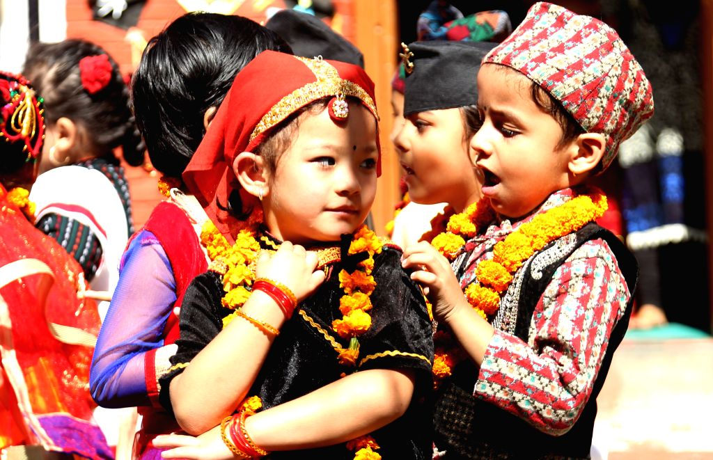 KATHMANDU, Oct. 29, 2016 - Nepali children perform in celebration of Tihar festival in Kathmandu, Nepal, Oct. 29, 2016. The five-day festival in Nepal is held annually in October and each day is ...