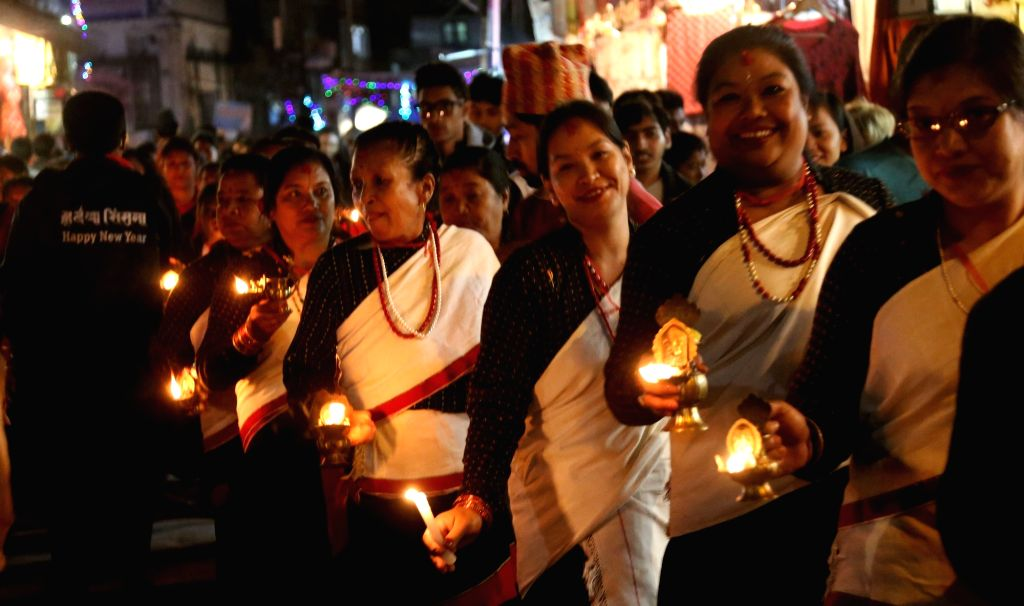 KATHMANDU, Oct. 30, 2016 - Nepali women participate in a celebration of the Tihar festival in Kathmandu, Nepal, Oct. 29, 2016. The five-day festival in Nepal is held annually and each day is ...
