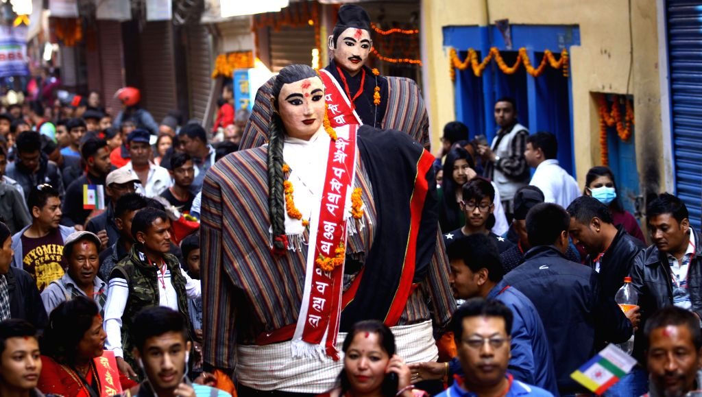 KATHMANDU, Oct. 31, 2016 - People from ethnic Newar community participate in a cultural rally staged on the occasion of New Year 1137 of Nepal Sambat at Hanuman Dhoka in Kathmandu, Nepal, Oct. 31, ...