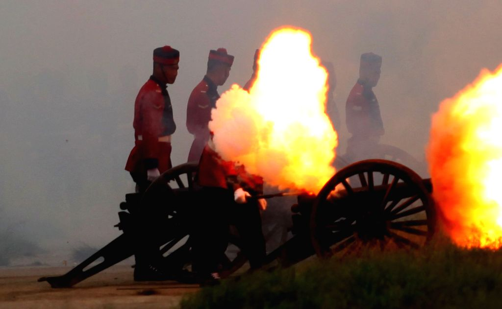 "KATHMANDU, Oct. 8, 2016 - Nepalese Army soldiers fire a cannon during an event to celebrate ""Fulpati"", the seventh day of the Dashain festival at Tundhikhel in Kathmandu, Nepal, Oct. 8, ..."