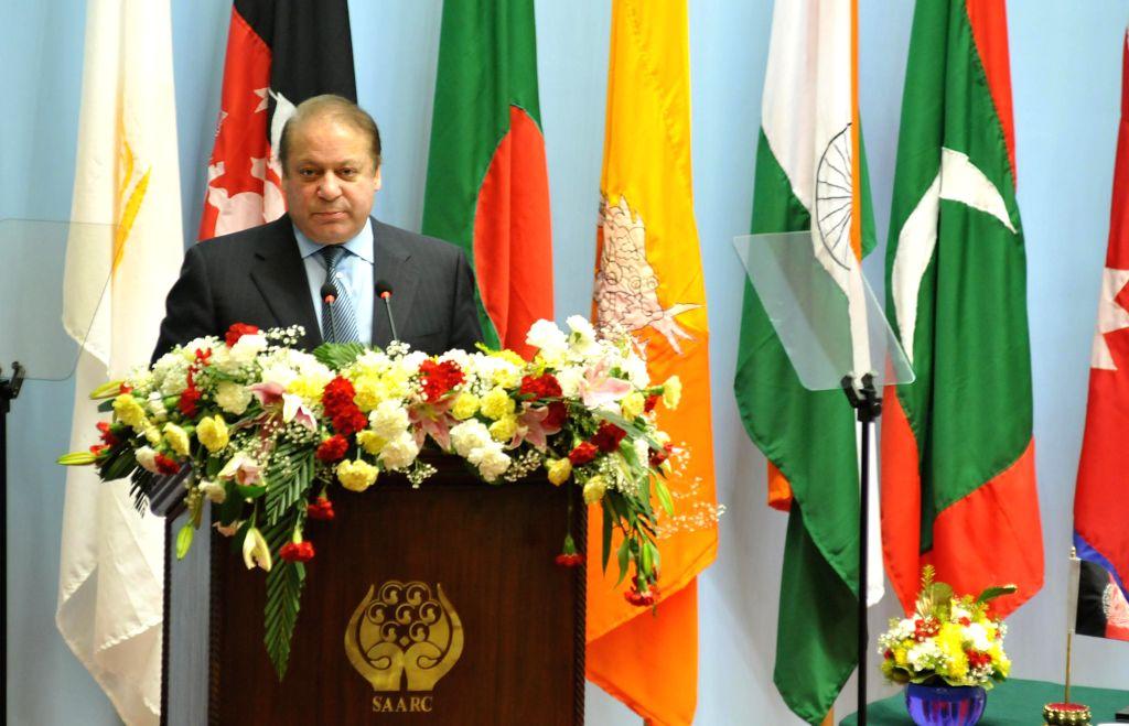 Pakistan Prime Minister Nawaz Sharif addresses at the inaugural session of the 18th SAARC Summit, in Kathmandu, Nepal, on Nov 26, 2014. - Nawaz Sharif