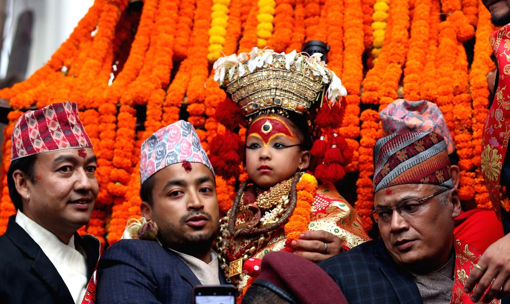 KATHMANDU, Sept. 13, 2019 - Nepalese living goddess Kumari participates in a chariot procession in celebration of Indrajatra Festival at Hanumandhoka Durbar Square in Kathmandu, Nepal, Sept. 13, 2019.