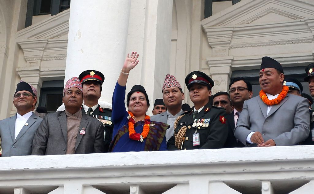 KATHMANDU, Sept. 13, 2019 - Nepali President Bidhya Devi Bhandari (3rd L, front) waves to people during the celebration of Indrajatra Festival at Hanumandhoka Durbar Square in Kathmandu, Nepal, Sept. ...