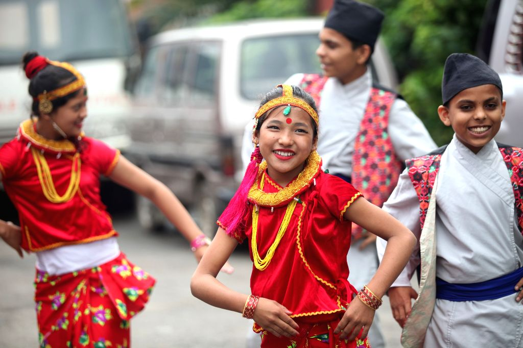 KATHMANDU, Sept. 15, 2019 - Nepalese children perform at an event organized in celebration of National Children's Day in Kathmandu, Nepal, Sept. 15, 2019. Nepal observed its Children's Day on Sunday ...