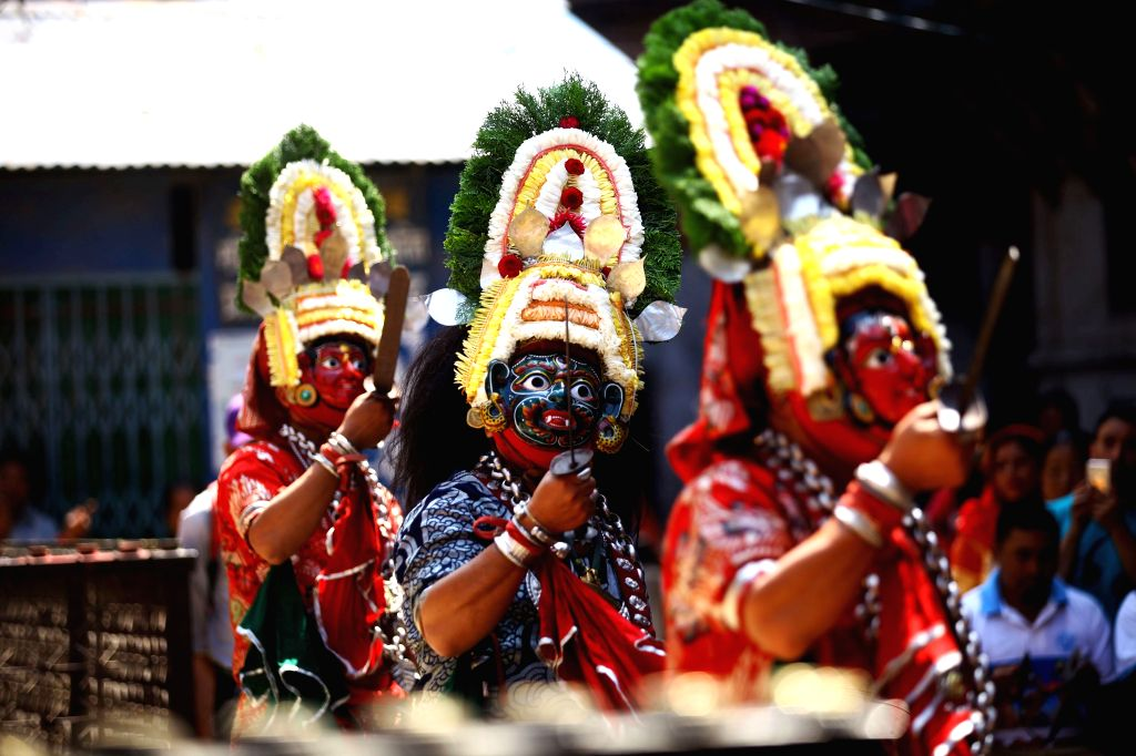"KATHMANDU, Sept. 18, 2018 - Masked dancers perform as part of ""Devi Pyankha"" (Devi Dance) to mark the beginning of Indrajatra Festival in Kathmandu, Nepal, Sept. 18, 2018. Nepalese ..."