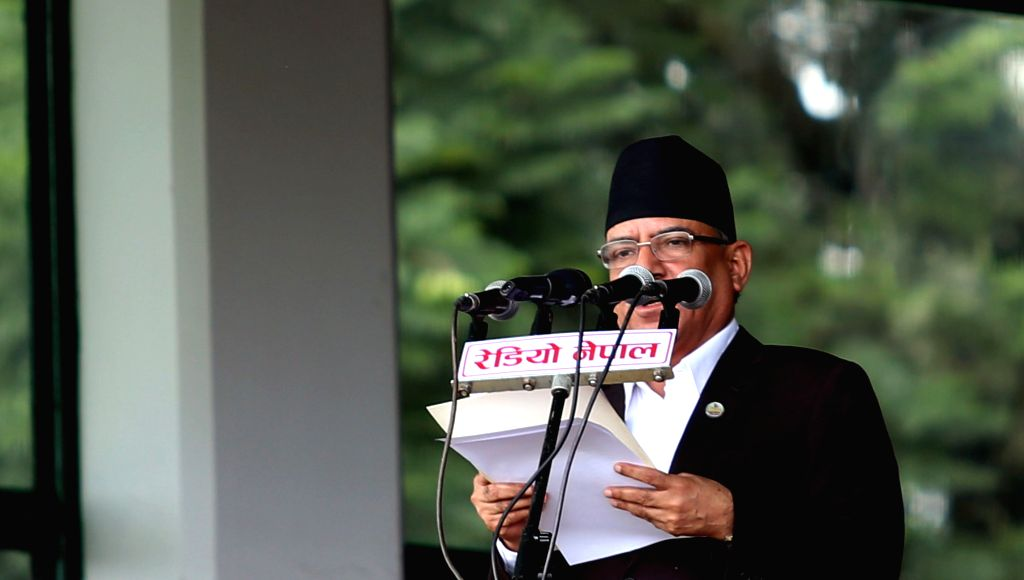 KATHMANDU, Sept. 19, 2016 - Nepalese Prime Minister Pushpa Kamal Dahal speaks during the celebration of the country's first Constitution Day at Tundikhel in Kathmandu, Nepal, Sept. 19, 2016. Nepal's ... - Pushpa Kamal Dahal and Baran Yadav