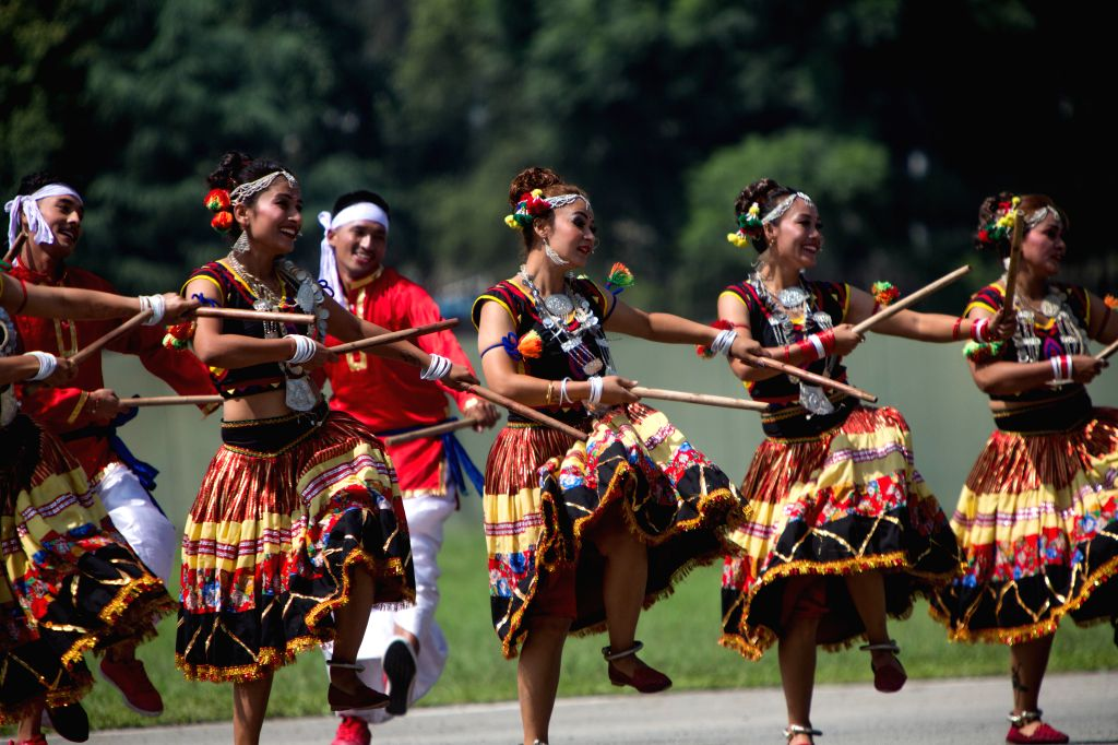 KATHMANDU, Sept. 20, 2019 - Nepalese people in traditional attire perform ethnic dance during the celebration of Constitution Day at the Nepal Army Pavilion ground in Tudikhel in Kathmandu, Nepal, on ...