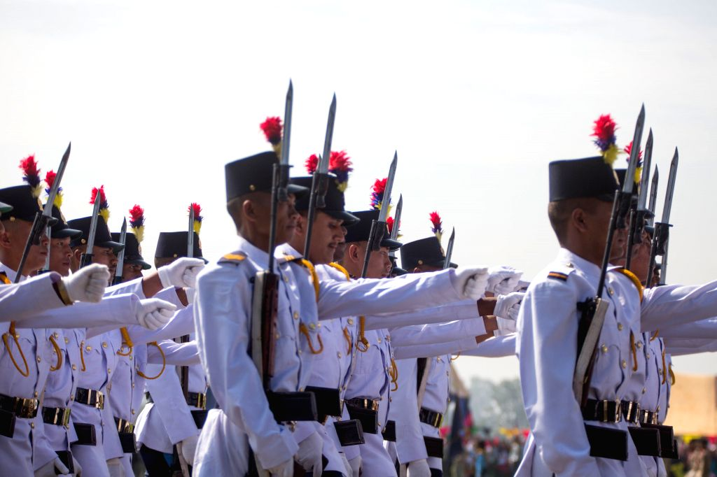 KATHMANDU, Sept. 20, 2019 - Nepalese soldiers take part in a parade during the celebration of Constitution Day at the Nepal Army Pavilion ground in Tudikhel in Kathmandu, Nepal, on Sept. 20, 2019.