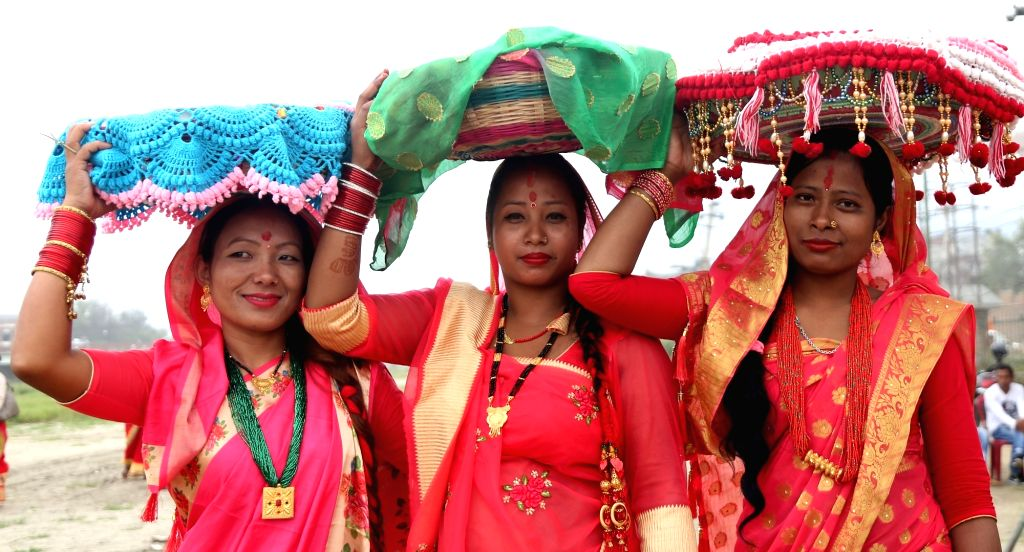 KATHMANDU, Sept. 22, 2019 - Women from the local Tharu community take part in religious rituals to celebrate the Jitiya festival in Kathmandu, Nepal, Sept. 22, 2019. The Jitiya festival is mostly ...