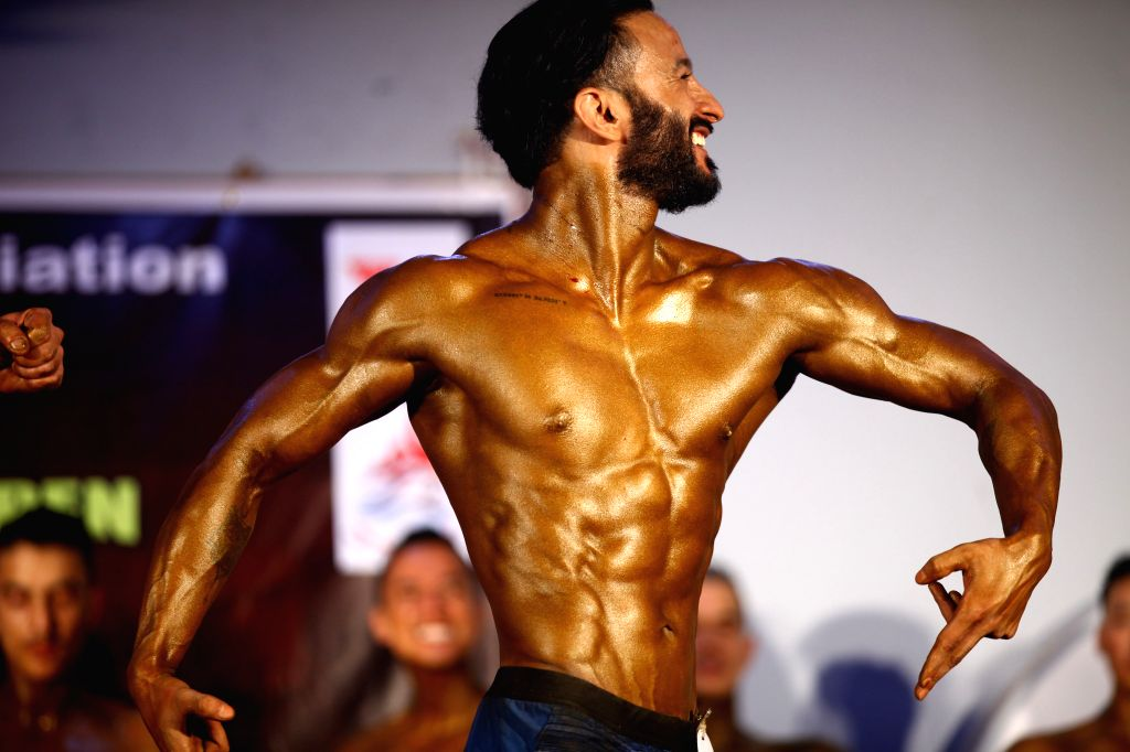 KATHMANDU, Sept. 7, 2019 - A contestant competes during the pre-judging round match of a national bodybuilding championship in Kathmandu, Nepal, Sept. 6, 2019.