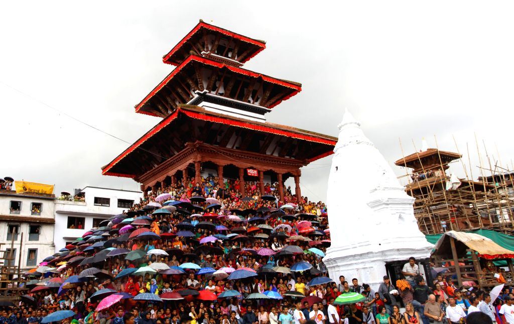 Devotees are observing the Indrajatra festival at Hanumandhoka Durbar Square in Kathmandu, Nepal, Sept. 8, 2014. Nepalese celebrate the Indrajatra festival to ...