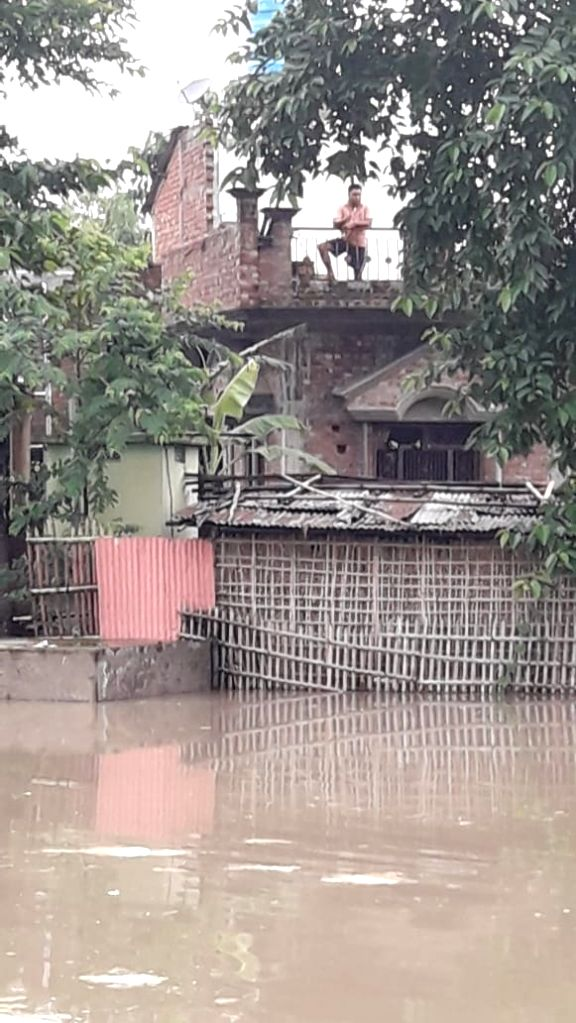 Katihar: A view of the flood affected Katihar in Bihar on July 15, 2019. (Photo: IANS)