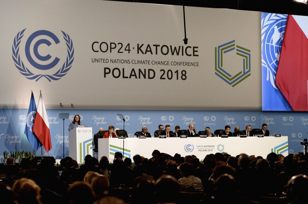 KATOWICE, Dec. 3, 2018 - Maria Fernanda Espinosa Garces, president of the 73rd session of the UN General Assembly, addresses the UN Climate Change Conference in Katowice, Poland, Dec. 3, 2018. ...