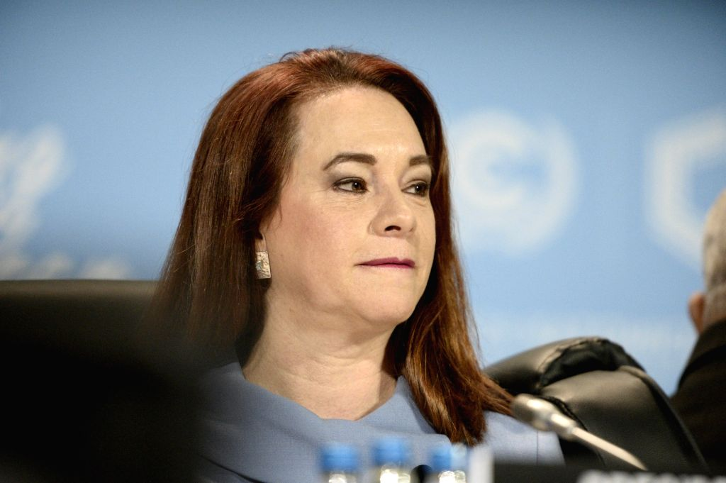 KATOWICE, Dec. 3, 2018 - Maria Fernanda Espinosa Garces, president of the 73rd session of the United Nations (UN) General Assembly, attends the UN Climate Change Conference in Katowice, Poland, Dec. ...