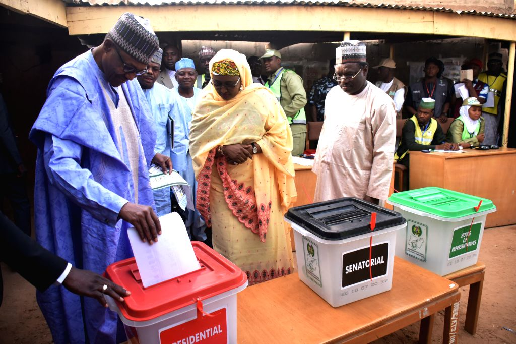 KATSINA, Feb. 23, 2019 - Nigerian President Muhammadu Buhari casts his vote at a polling station in the 2019 Presidential and National Assembly Elections in Daura in Katsina State, Nigeria, Feb. 23, ...