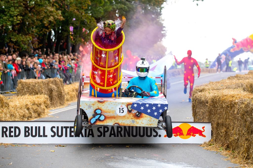 KAUNAS, Sept. 16, 2019 - Competitors drive a non-motorized hand-made vehicle during Lithuanian SoapBox Race 2019 in Kaunas, Lithuania, Sept. 15, 2019. This is the second time Lithuania held this ...