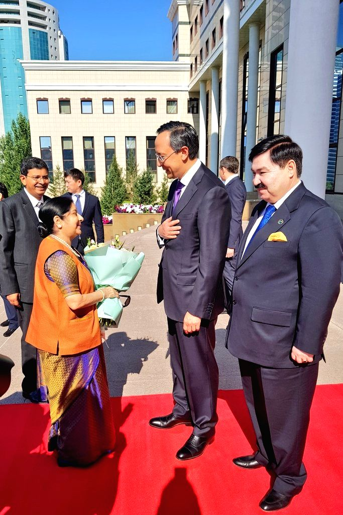Kazakhstan Foreign Minister Kairat Abdrakhmanov welcomes External Affairs Minister Sushma Swaraj at the Foreign Office building, in Astana, Kazakhstan, on  Aug 3, 2018 - Kairat Abdrakhmanov and Sushma Swaraj