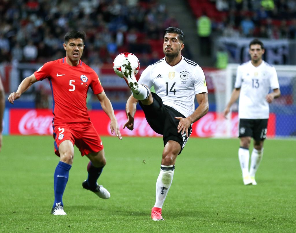 KAZAN, June 23, 2017 - Emre Can (C)of Germany vies with Francisco Silva of Chile during group B match between Germany and Chile at the 2017 FIFA Confederations Cup in Kazan, Russia, on June 22, 2017. ...