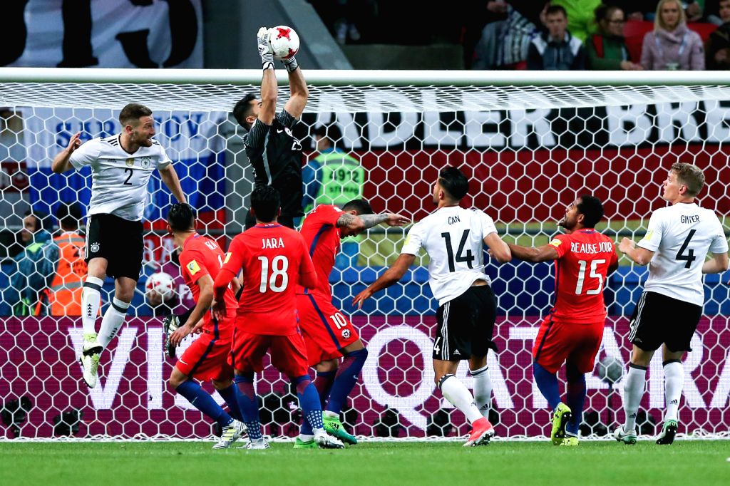 KAZAN, June 23, 2017 - Johnny Herrera of Chile saves the ball during group B match between Germany and Chile at the 2017 FIFA Confederations Cup in Kazan, Russia, on June 22, 2017. The match ended ...
