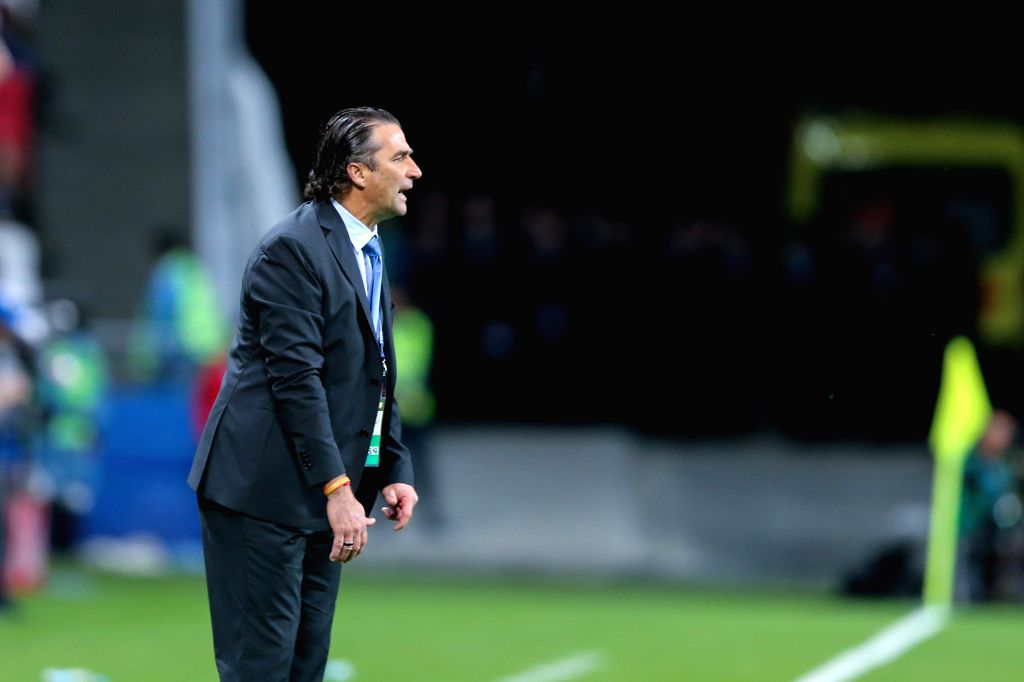 KAZAN, June 23, 2017 - Juan Antonio Pizzi,head coach of Chile reacts during group B match between Germany and Chile at the 2017 FIFA Confederations Cup in Kazan, Russia, on June 22, 2017. The match ...