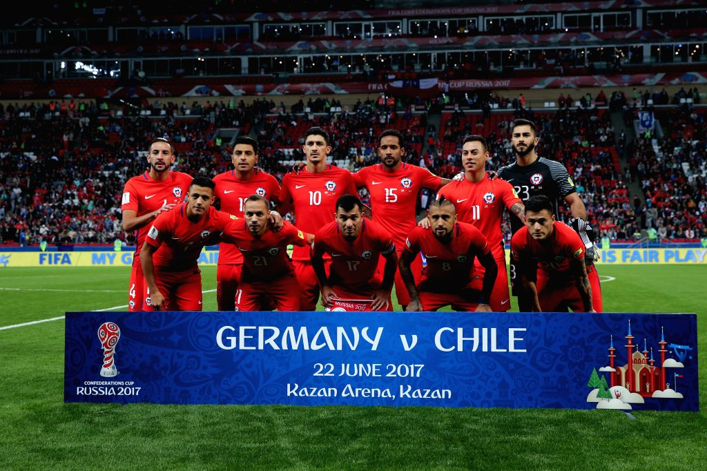 KAZAN, June 23, 2017 - Players of Chile pose for a group photo ahead of group B match between Germany and Chile at the 2017 FIFA Confederations Cup in Kazan, Russia, on June 22, 2017. The match ended ...