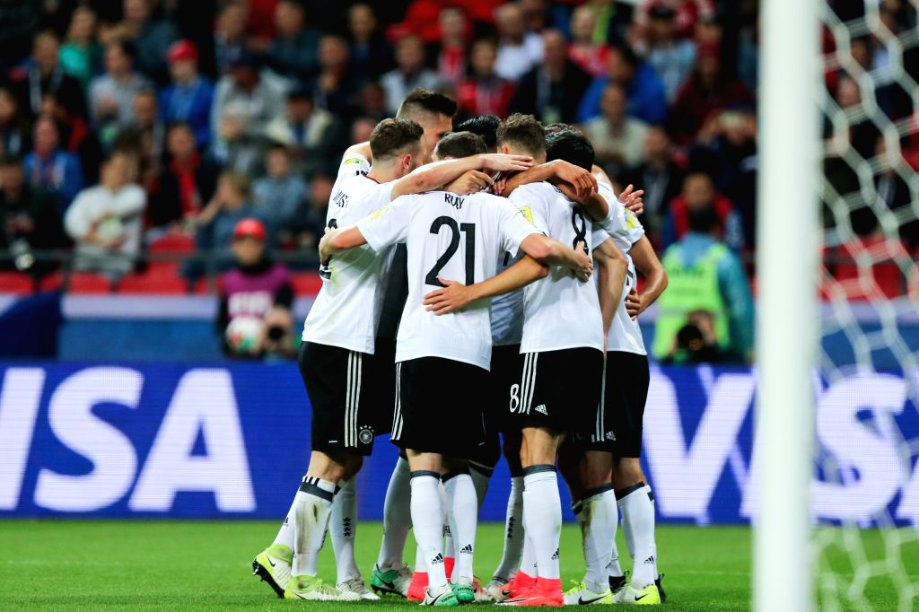 KAZAN, June 23, 2017 - Players of Germany celebrates for scoring during group B match between Germany and Chile at the 2017 FIFA Confederations Cup in Kazan, Russia, on June 22, 2017. The match ended ...