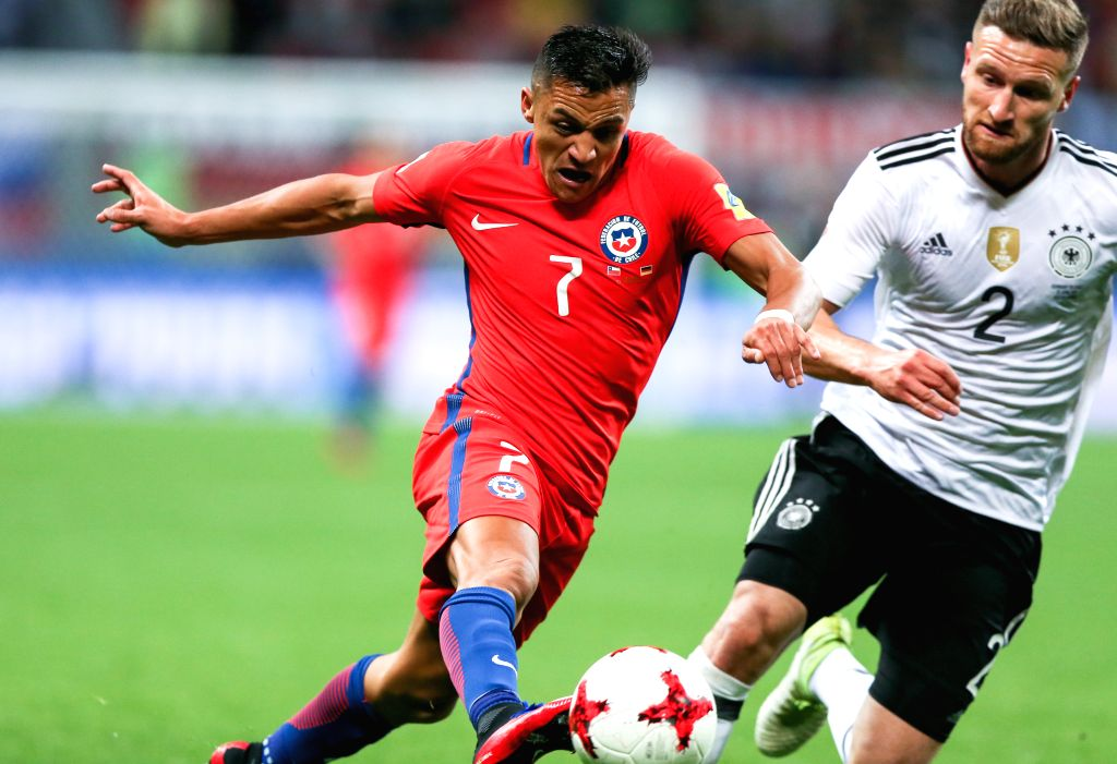 KAZAN, June 23, 2017 - Shkodran Mustafi (R)of Germany vies with Alexis Sanchez of Chile during group B match between Germany and Chile at the 2017 FIFA Confederations Cup in Kazan, Russia, on June ...