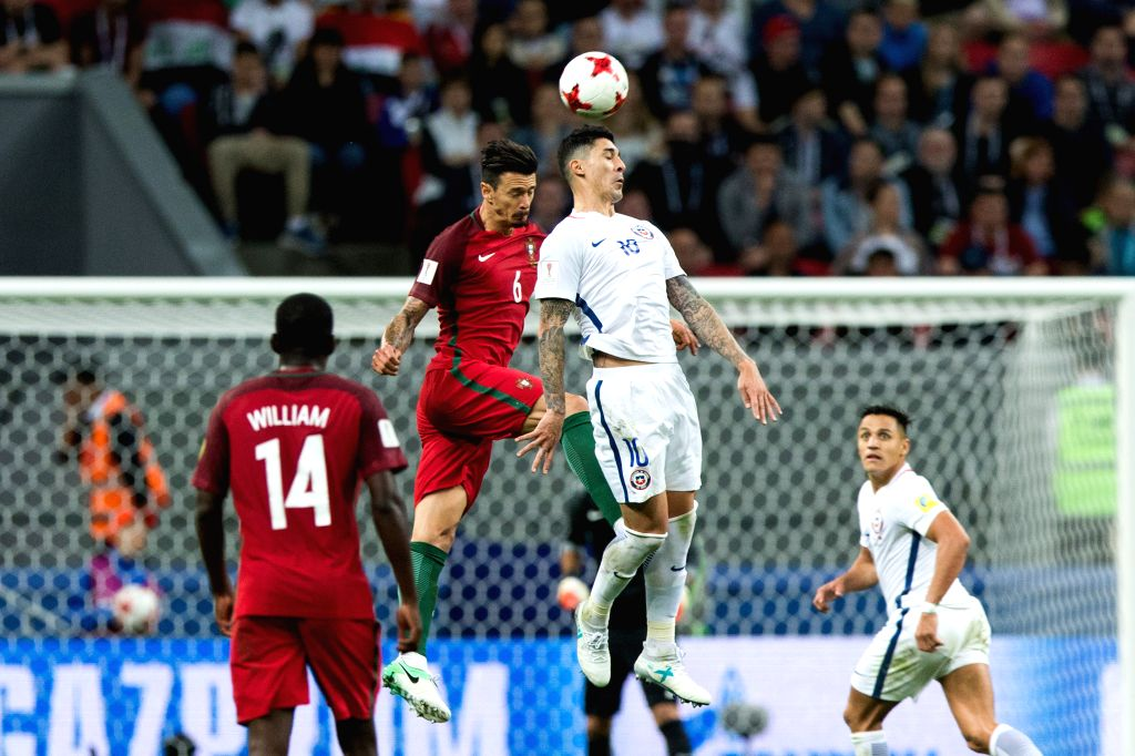 KAZAN, June 29, 2017 - Pablo Hernandez (R2) of Chile vies with Jose Fonte (L2) of Portugal during the FIFA Confederations Cup 2017 semifinal match in Kazan, Russia, June 28, 2017.