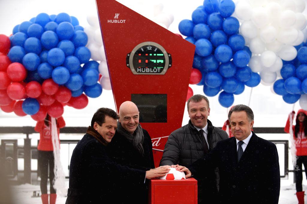 KAZAN , Nov. 26, 2016 - Mayor of Kazan Ilsur Metshin (L), president of FIFA Gianni Infantino (2nd L), and Russian Deputy Prime Minister Vitaly Mutko (R) launch the countdown clock for World Cup-2018 ... - Vitaly Mutko