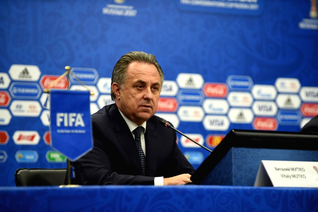KAZAN, Nov. 26, 2016 - Russian Deputy Prime Minister Vitaly Mutko addresses the media during a press conference before the official draw ceremony of Confederations Cup 2017 in Kazan, Russia, on Nov. ... - Vitaly Mutko