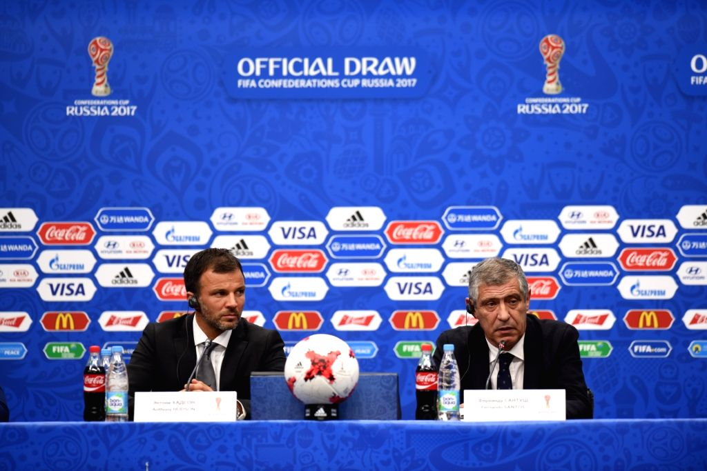 KAZAN, Nov. 27, 2016 - Coach of the Portugal national team Fernando Santos (R) addresses the media during a press conference after the official draw ceremony for Confederations Cup 2017 in Kazan, ...