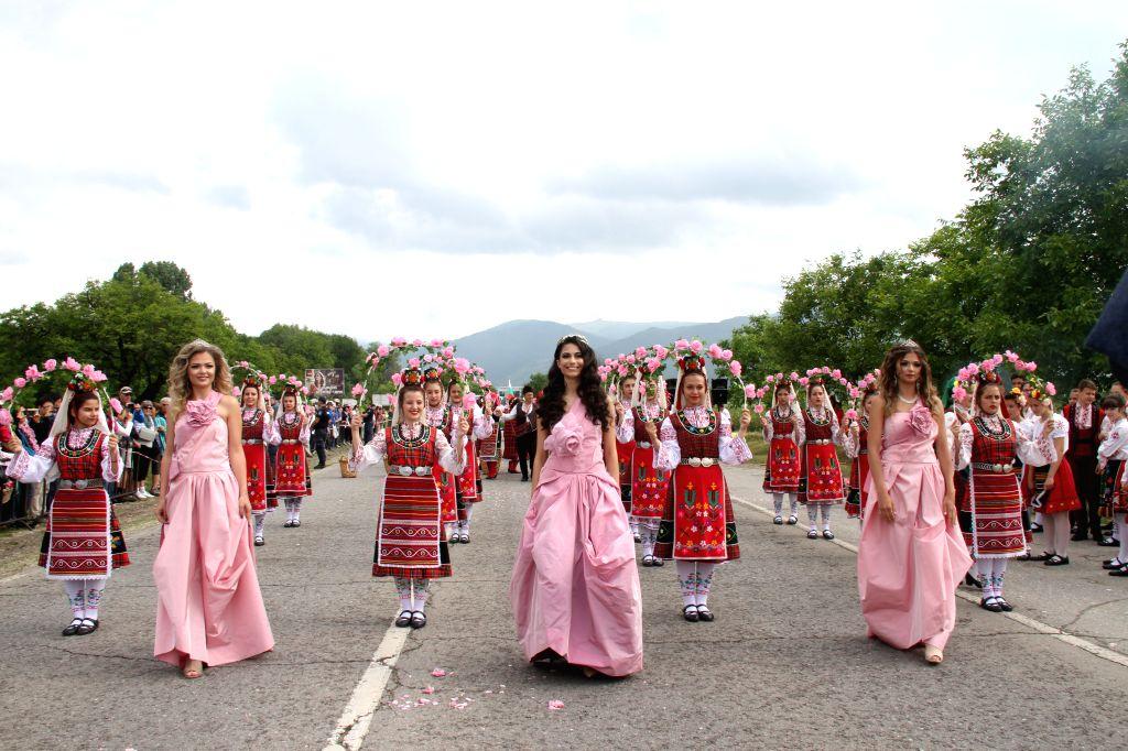 "KAZANLAK, June 3, 2019 - ""Rose Queens"" celebrate during the Rose Festival in Kazanlak, Bulgaria, June 2, 2019. The annual Rose Festival was held on Sunday in Kazanlak. Located some 200 ..."