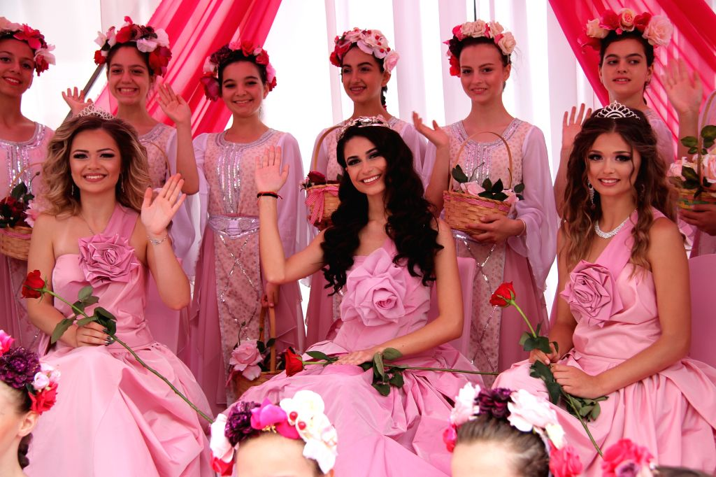 "KAZANLAK, June 3, 2019 - ""Rose Queens"" wave to people during the Rose Festival in Kazanlak, Bulgaria, June 2, 2019. The annual Rose Festival was held on Sunday in Kazanlak. Located some 200 ..."