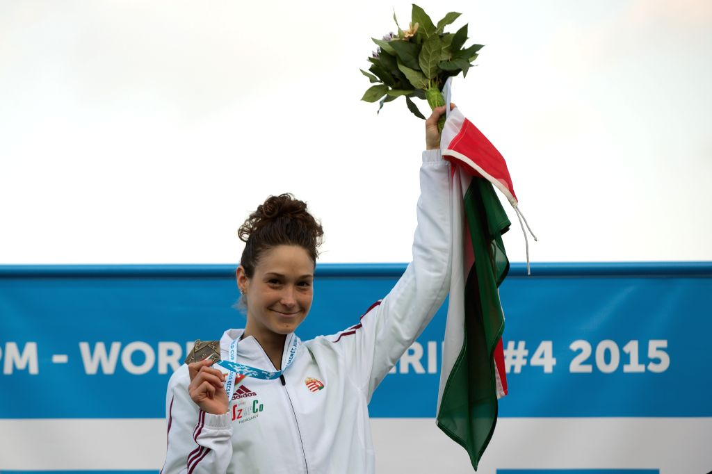 Gold medalist Zsofia Foldhazi of Hungary poses during the awarding ceremony of the women's modern pentathlon World Cup in Kecskemet, Hungary on May 2, 2015. ...