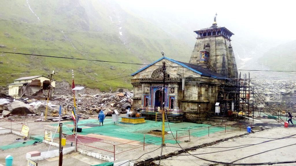 Kedarnath: A view of deserted Kedarnath Temple as pilgrims were stopped after fears mounted that the incessant rain could trigger landslips on July 11, 2015. (Photo: IANS)