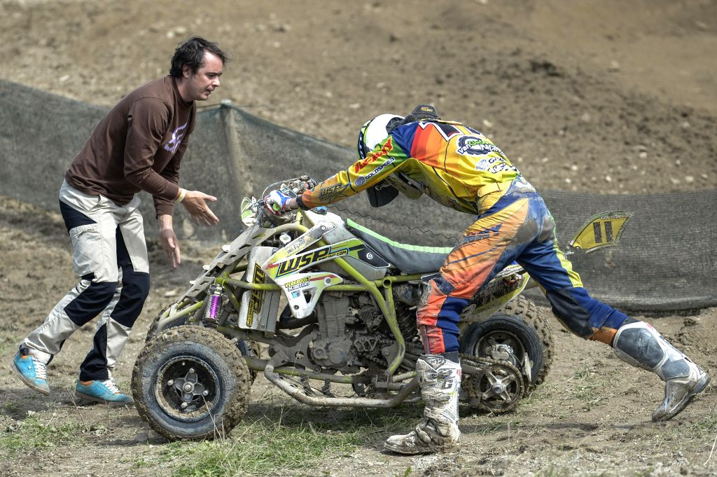 Keeping the second position in ITP Quadrocross European Championship standings Dutch racer Mike Van Grinsven loses the wheel during the first race at the 5th round ...