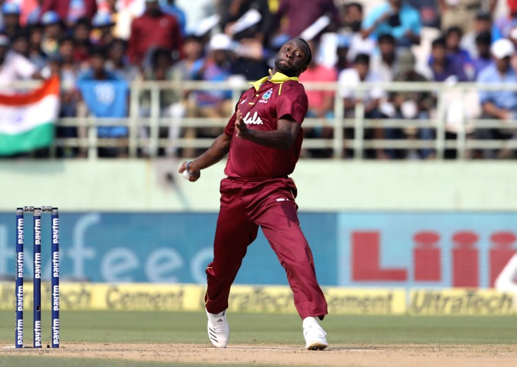 Kemar Roach of West Indies in action during the second ODI match between India and West Indies at Dr. Y.S. Rajasekhara Reddy ACA-VDCA Cricket Stadium in Visakhapatnam, on Oct 24, 2018.