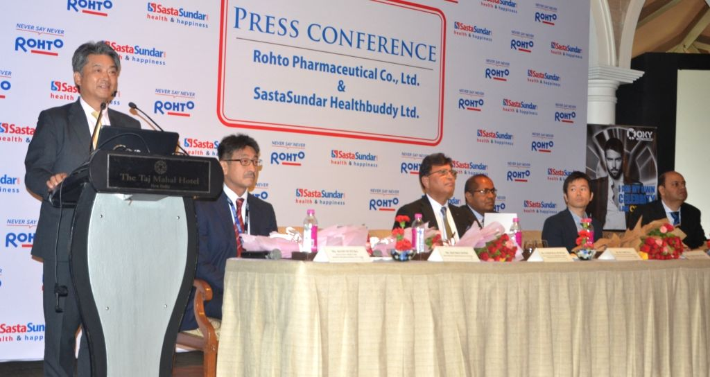 Kenko Sone, Minister, Chief of Economic Section, Embassy of Japan along with Rohto Pharma MD Koji Suzuki during a programme in New Delhi, on May 30, 2017.