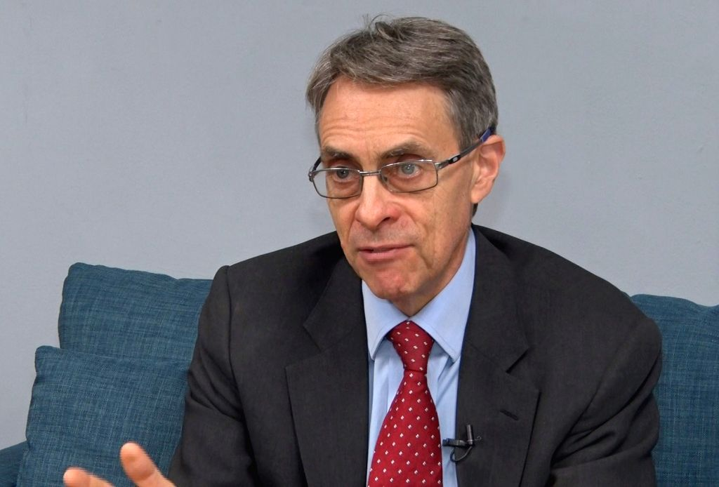 Kenneth Roth, chief of Human Rights Watch, gives an interview in Seoul on Oct. 31, 2018, in this photo provided by Yonhap News TV. Roth emphasized that North Korea's denuclearization and human ...
